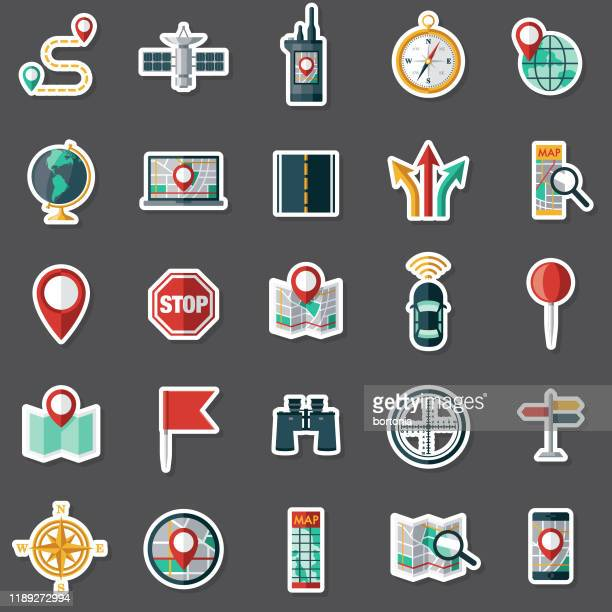 navigation sticker set - large group of objects stock illustrations