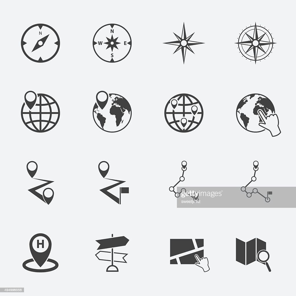 navigation symbol icons set.
