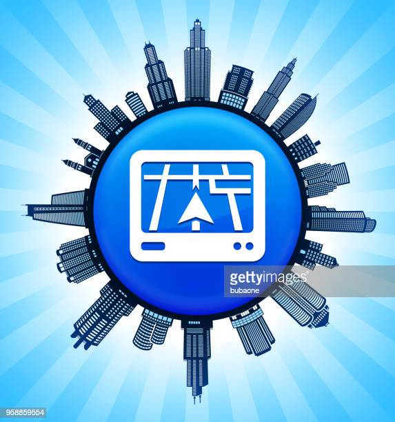 navigation system on modern cityscape skyline background - thoroughfare stock illustrations, clip art, cartoons, & icons