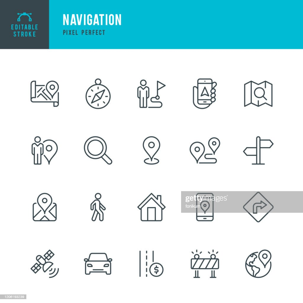 Navigation - thin line vector icon set. Pixel perfect. Editable stroke. The set contains icons: GPS, Navigational Compass, Distance Marker, Car, Walking, Mobile Phone, Map, Road Sign. : Stock Illustration
