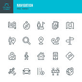 Navigation - thin line vector icon set. Pixel perfect. Editable stroke. The set contains icons: GPS, Navigational Compass, Distance Marker, Car, Walking, Mobile Phone, Map, Road Sign.