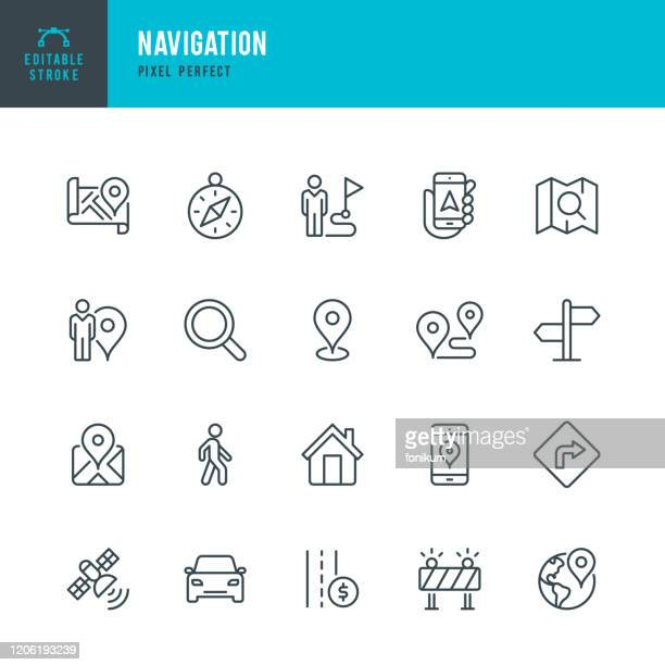 navigation - thin line vector icon set. pixel perfect. editable stroke. the set contains icons: gps, navigational compass, distance marker, car, walking, mobile phone, map, road sign. - car stock illustrations
