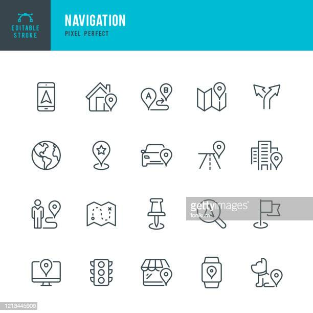 navigation - thin line vector icon set. pixel perfect. editable stroke. the set contains icons: gps, map, distance marker, navigation, walking, mobile phone, flag, traffic light, domestic animals. - domestic animals stock illustrations