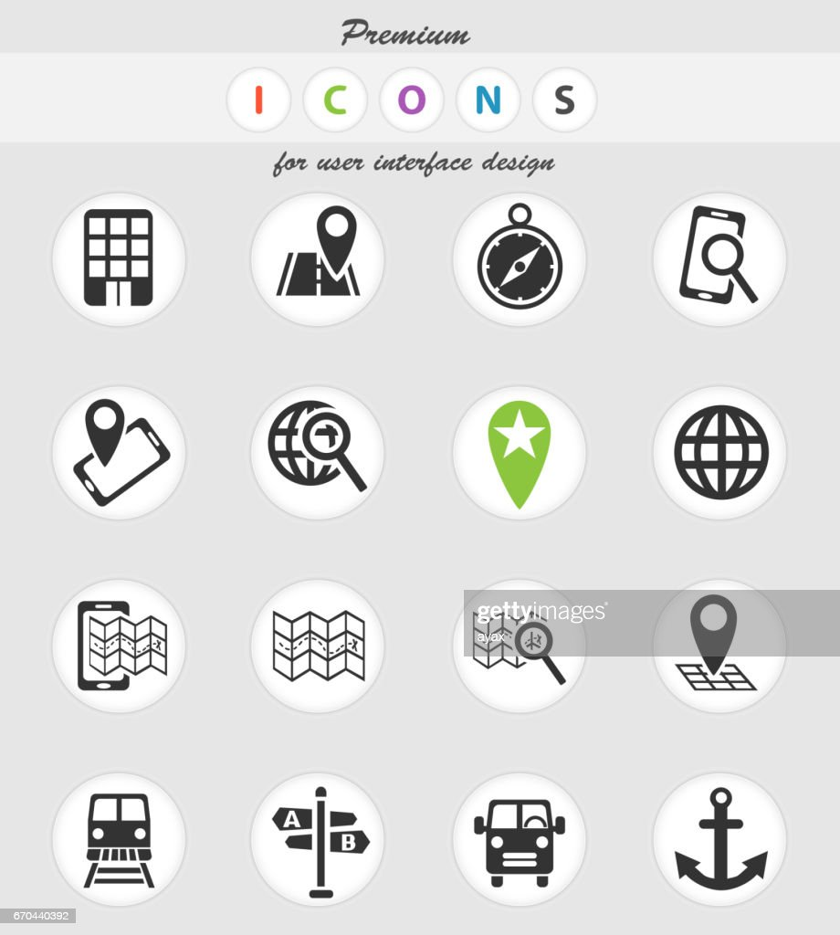 navigation transport map icons