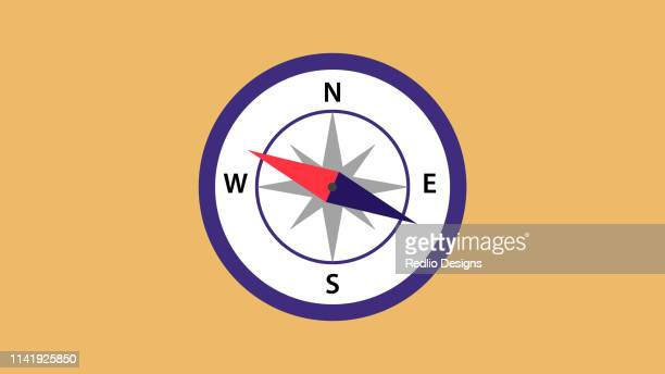 navigational compass icon - west direction stock illustrations