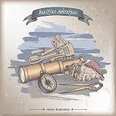 Navigational instruments coor sketch. Maritime adveture series.