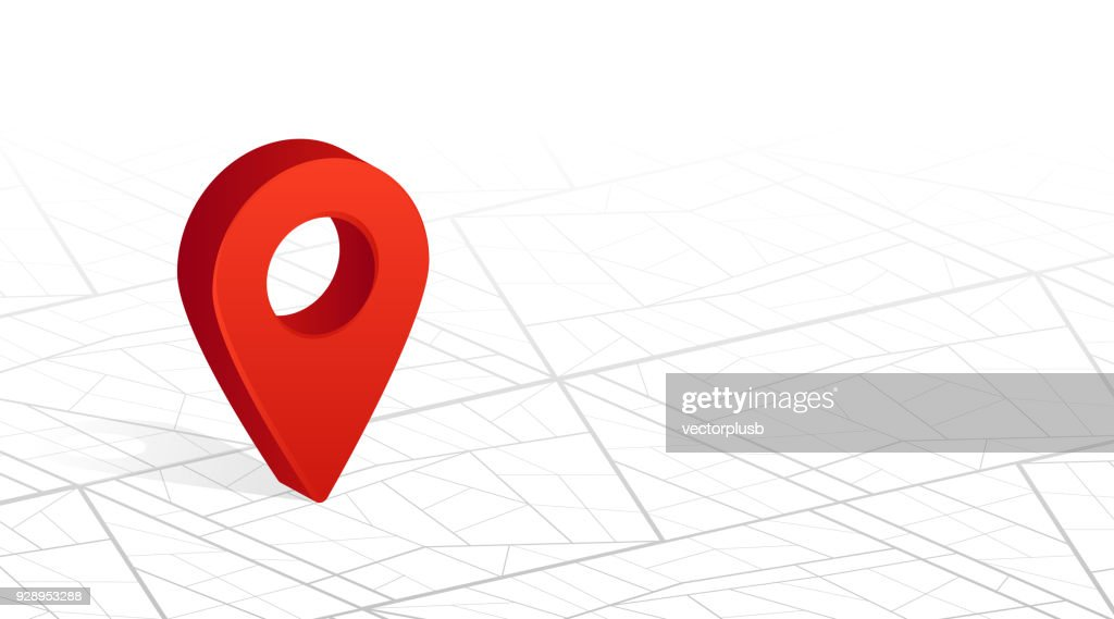 GPS navigator pin checking red color on city street map white background. Vector illustration