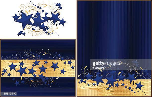 Navy Blue and Gold Stars Background Design Set