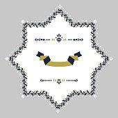 Navy blue and golden floral border blank star emblem on gray background