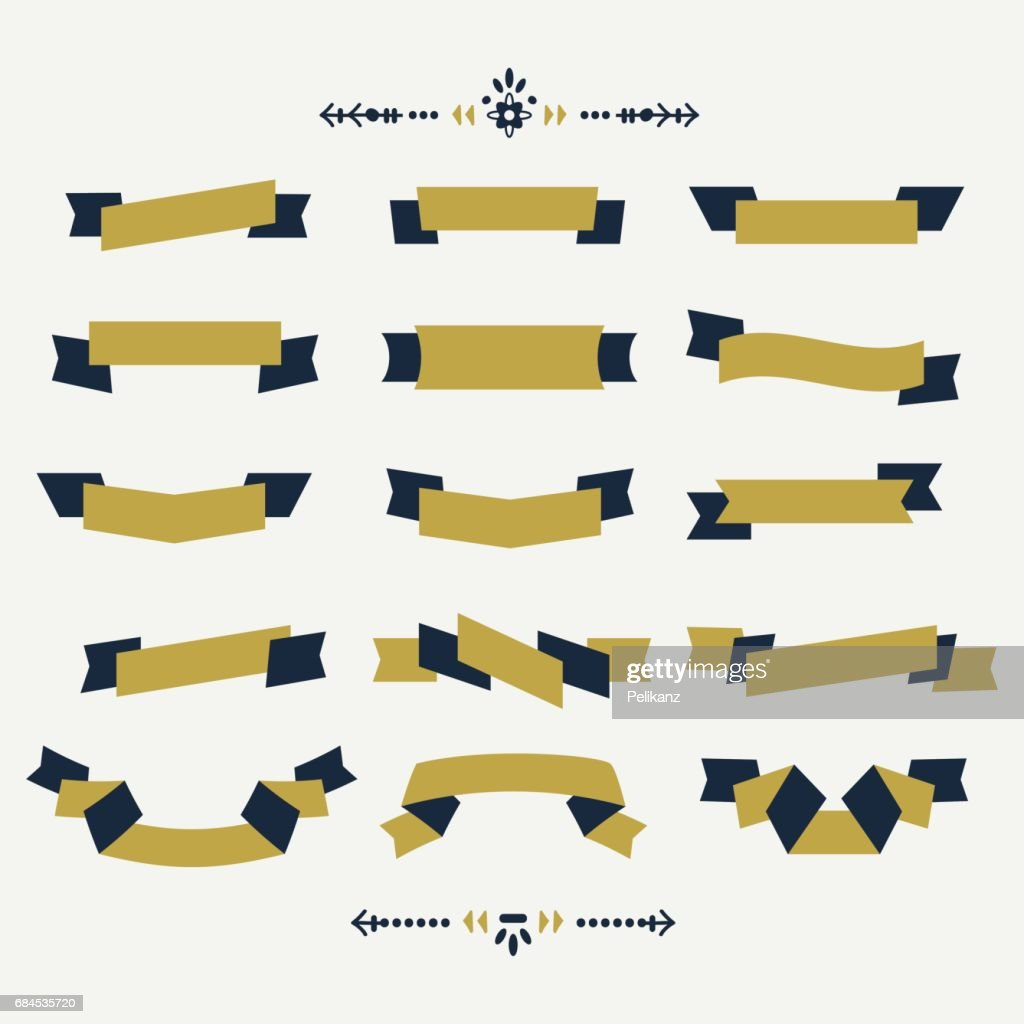 Navy blue and golden ribbon banners design element set on off white background