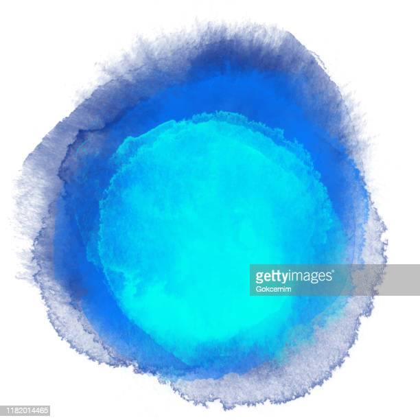 navy blue and turquoise blue watercolor circle splashes set isolated on white background. border of hues of navy blue paint splashing droplets. watercolor strokes design element. navy blue colored hand painted abstract texture.design element for greeting - dye stock illustrations