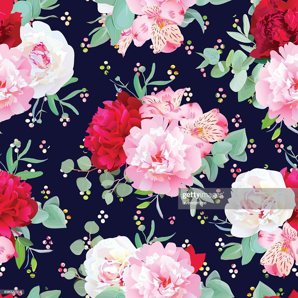 Navy blue floral seamless vector print with flowers