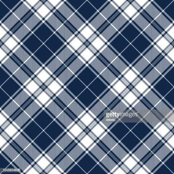 Navy Blue Scottish Tartan Plaid Textile Pattern