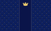 Navy blue seamless pattern in retro style with a gold crown. Can be used for premium royal party.