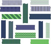 Navy Green Washi Tape Graphics set