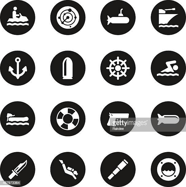 navy icons - black circle series - motorboating stock illustrations, clip art, cartoons, & icons