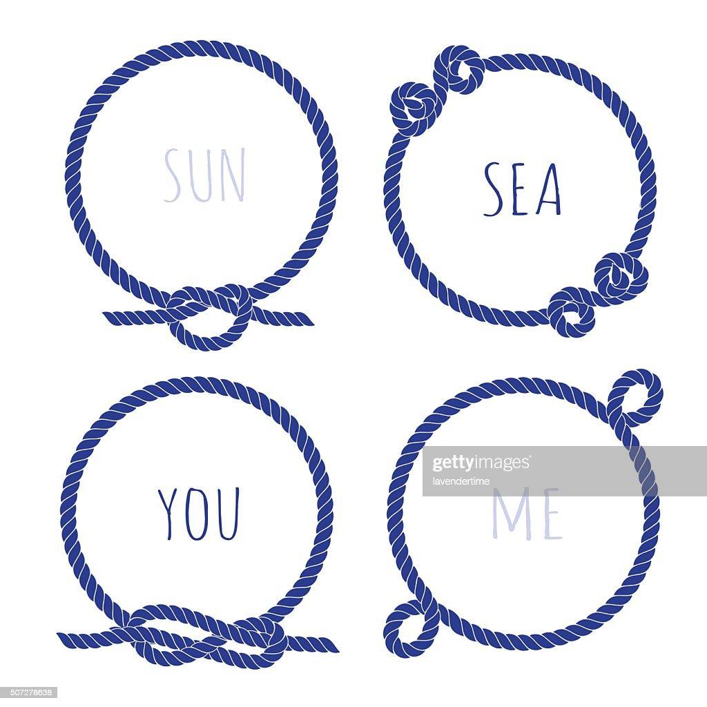 Navy marine rope round vector design frame set