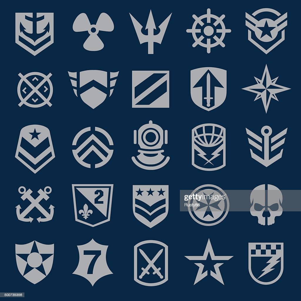 Navy military symbol icons set