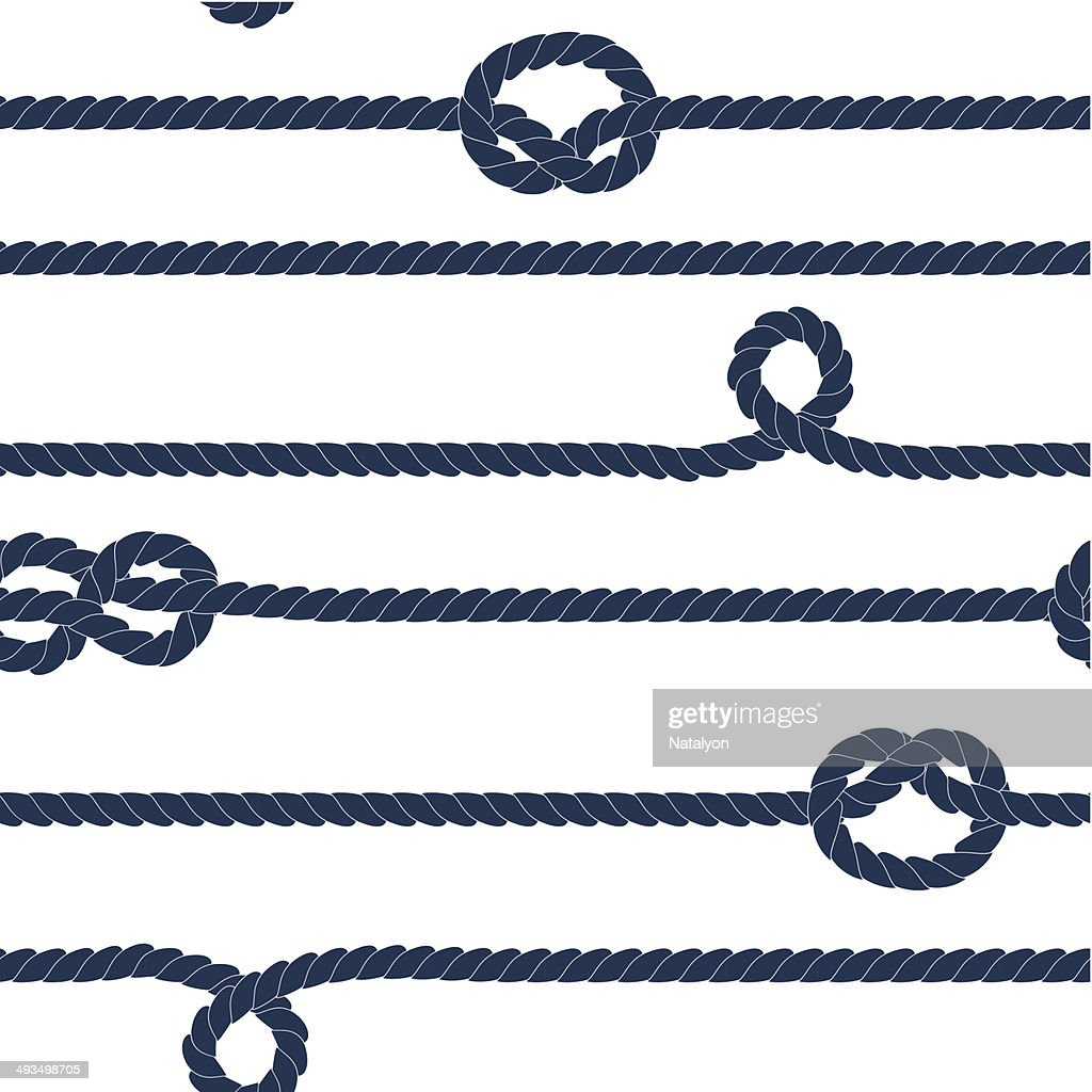 Navy rope and knots striped seamless pattern, blue and white