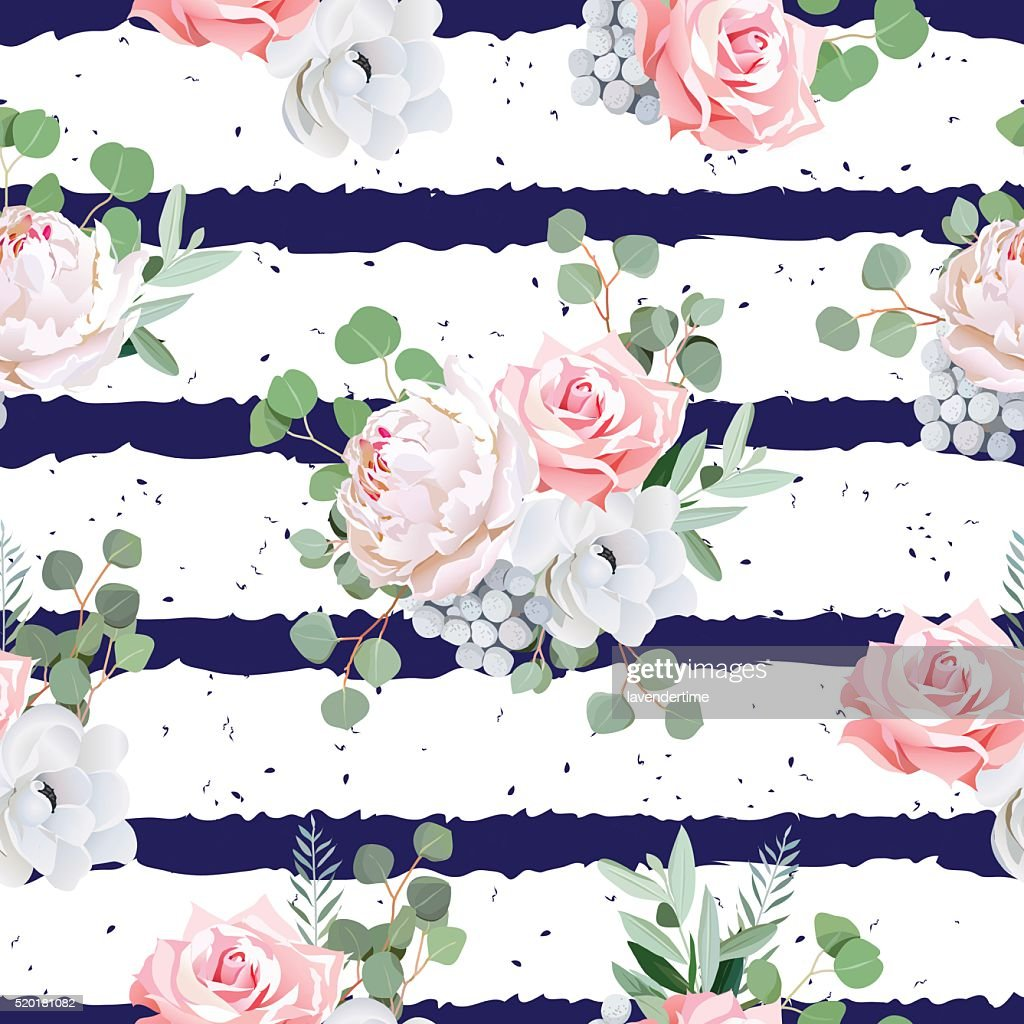 Navy striped seamless vector pattern with bouquets and speckled backdrop.