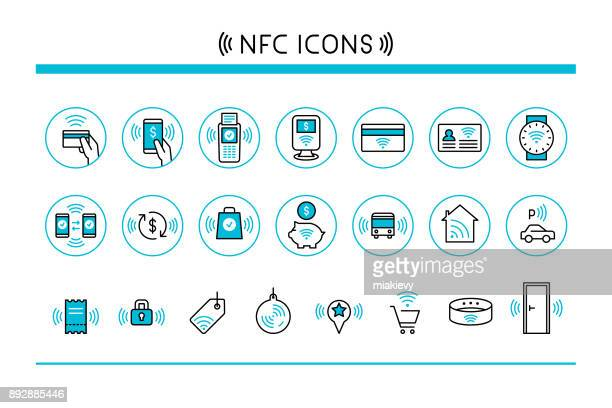 near field communication icons - credit card reader stock illustrations