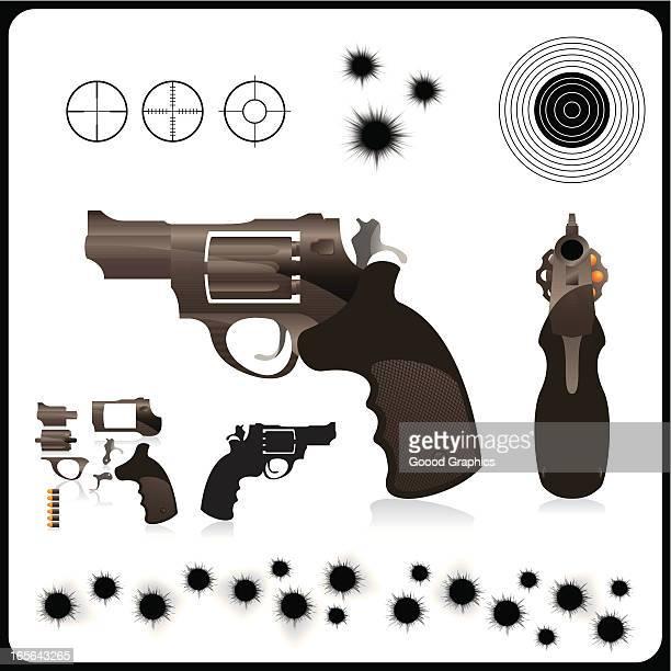 neatly constructed handgun - gun barrel stock illustrations
