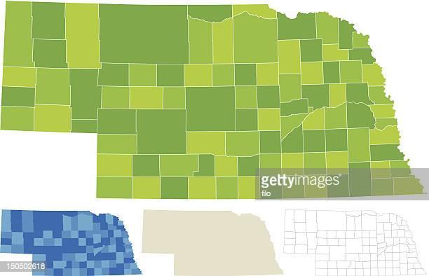nebraska county map - nebraska stock illustrations