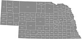 Nebraska county map vector outline gray background. Map of Nebraska state of USA with borders and counties names labeled