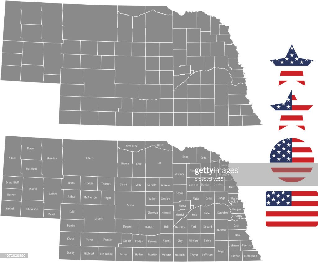 Nebraska county map vector outline in gray background. Nebraska state of USA map with counties names labeled and United States flag icon vector illustration designs