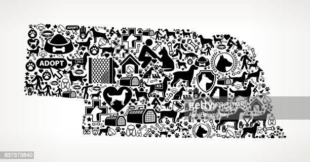 Nebraska Dog and Canine Pet Black Icon Pattern