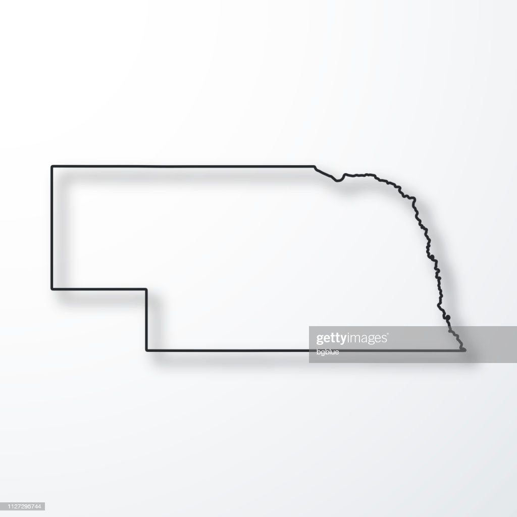Nebraska Map Black Outline With Shadow On White Background