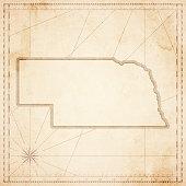 Nebraska map in retro vintage style - old textured paper