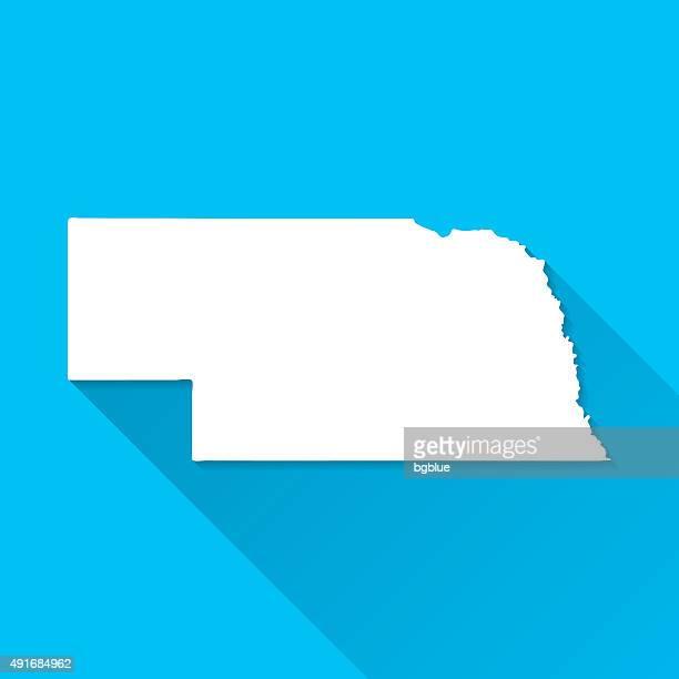 nebraska map on blue background, long shadow, flat design - nebraska stock illustrations