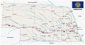nebraska road vector map with flag