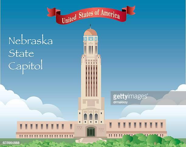 nebraska state capitol - lincoln nebraska stock illustrations