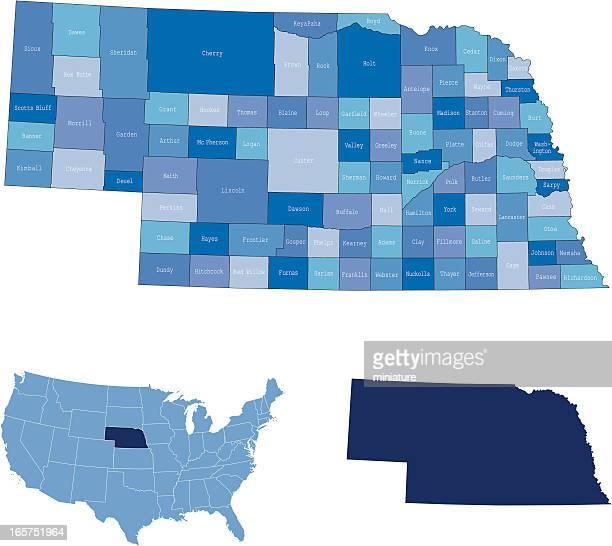 nebraska state & counties map - nebraska stock illustrations