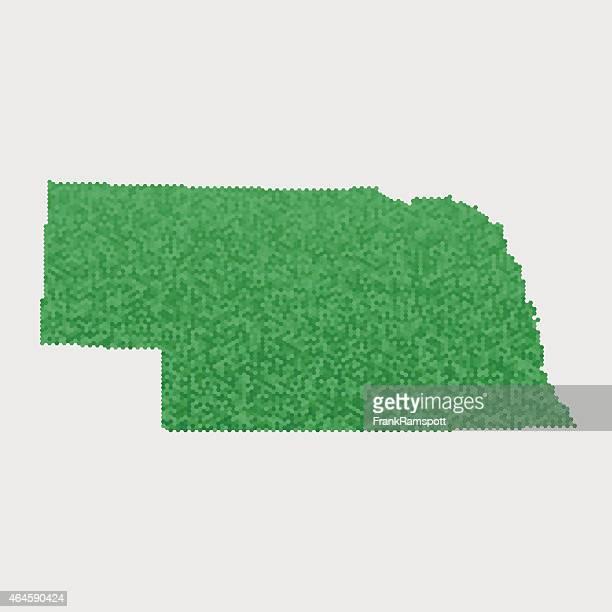 Nebraska State Map Green Hexagon Pattern