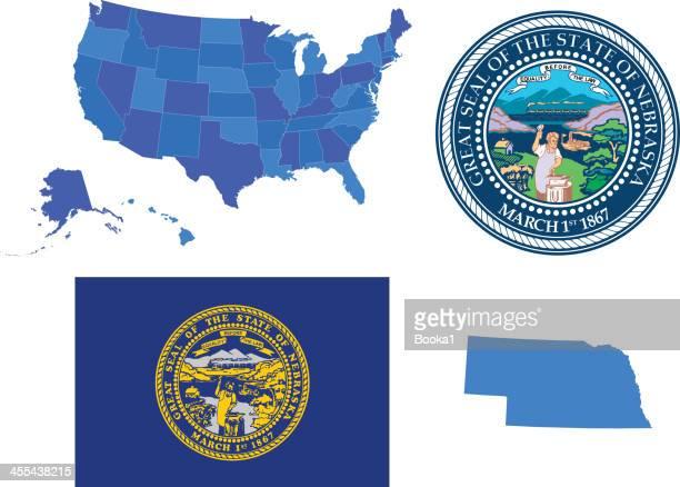 nebraska state set - nebraska stock illustrations