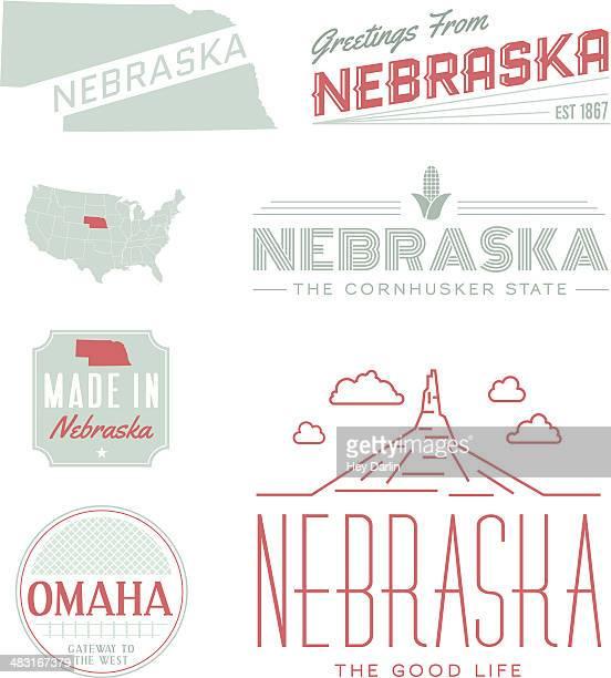 nebraska typography - nebraska stock illustrations