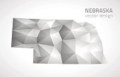 Nebraska vector grey and silver 3d mosaic shadow triangle map