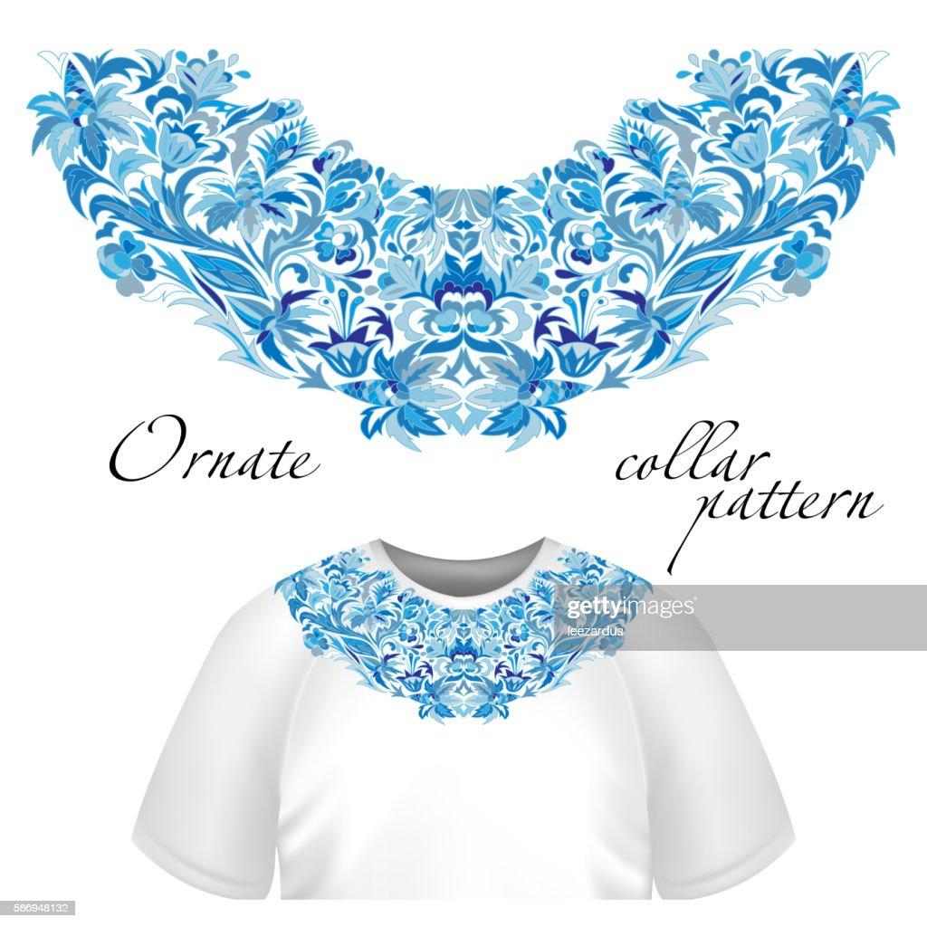 Neck print vector floral design. Fashion white lace collar.  illustration