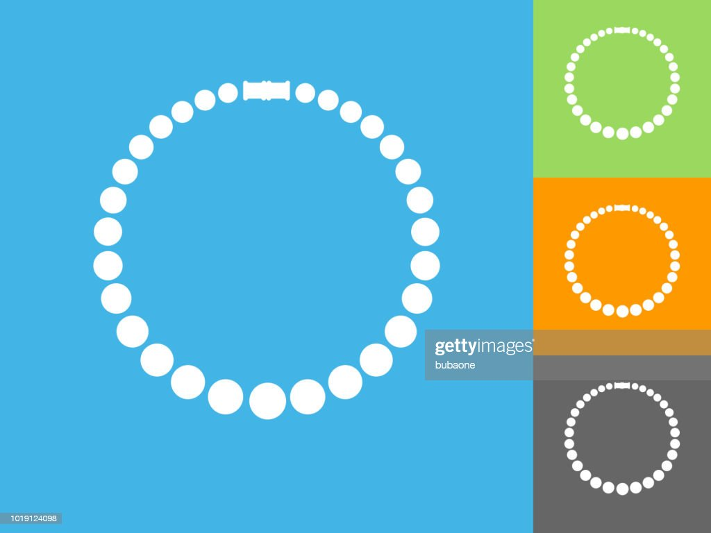 Necklace  Flat Icon on Blue Background : Stock Illustration