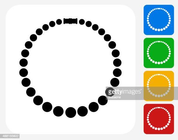 illustrazioni stock, clip art, cartoni animati e icone di tendenza di collana icon design piatto con - collana