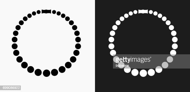 necklace icon on black and white vector backgrounds - necklace stock illustrations, clip art, cartoons, & icons