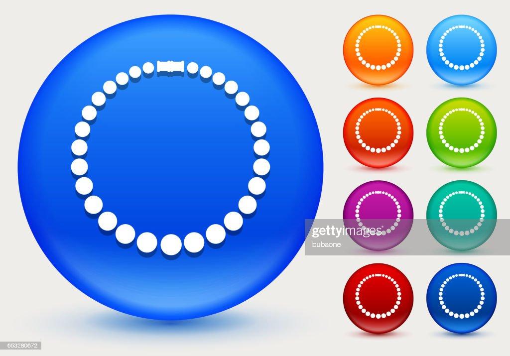 Halskette-Symbol auf glänzenden Farbkreis Tasten : Vektorgrafik