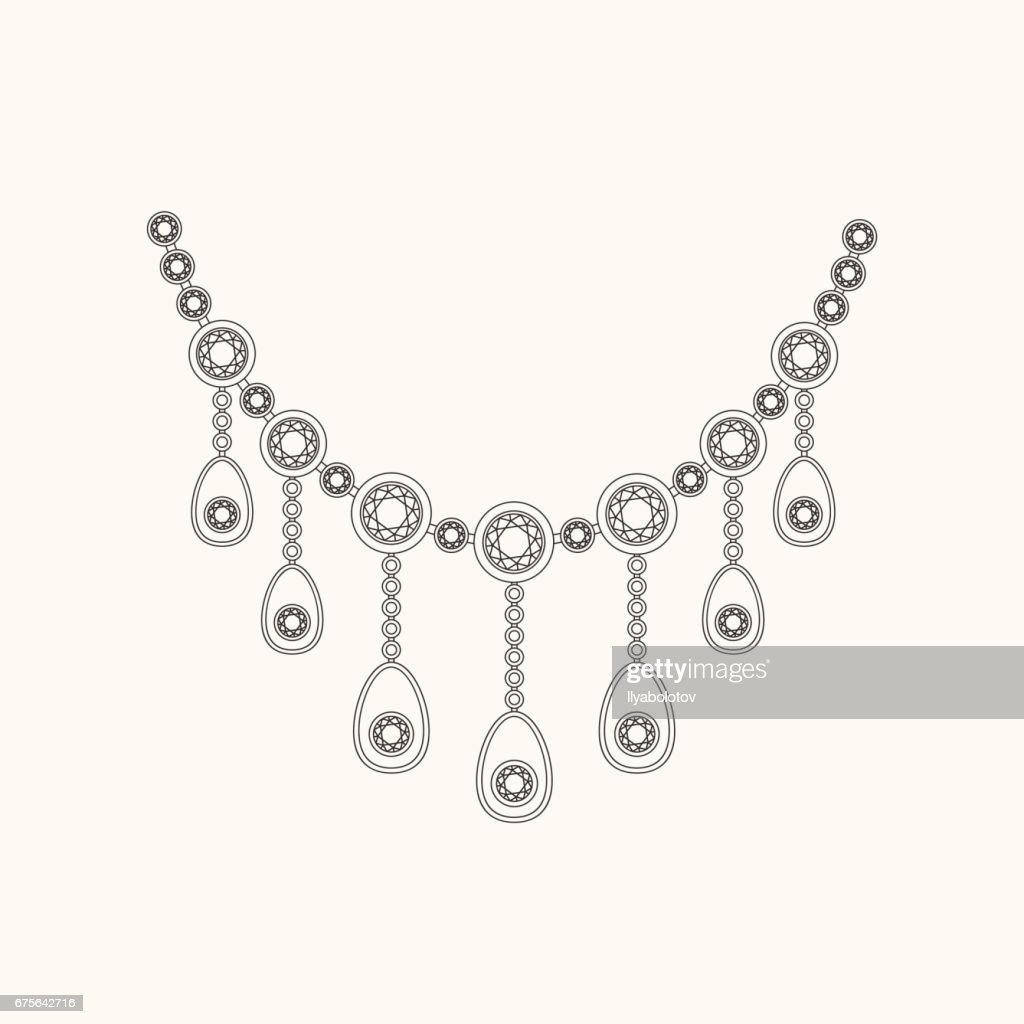 Necklace line drawing