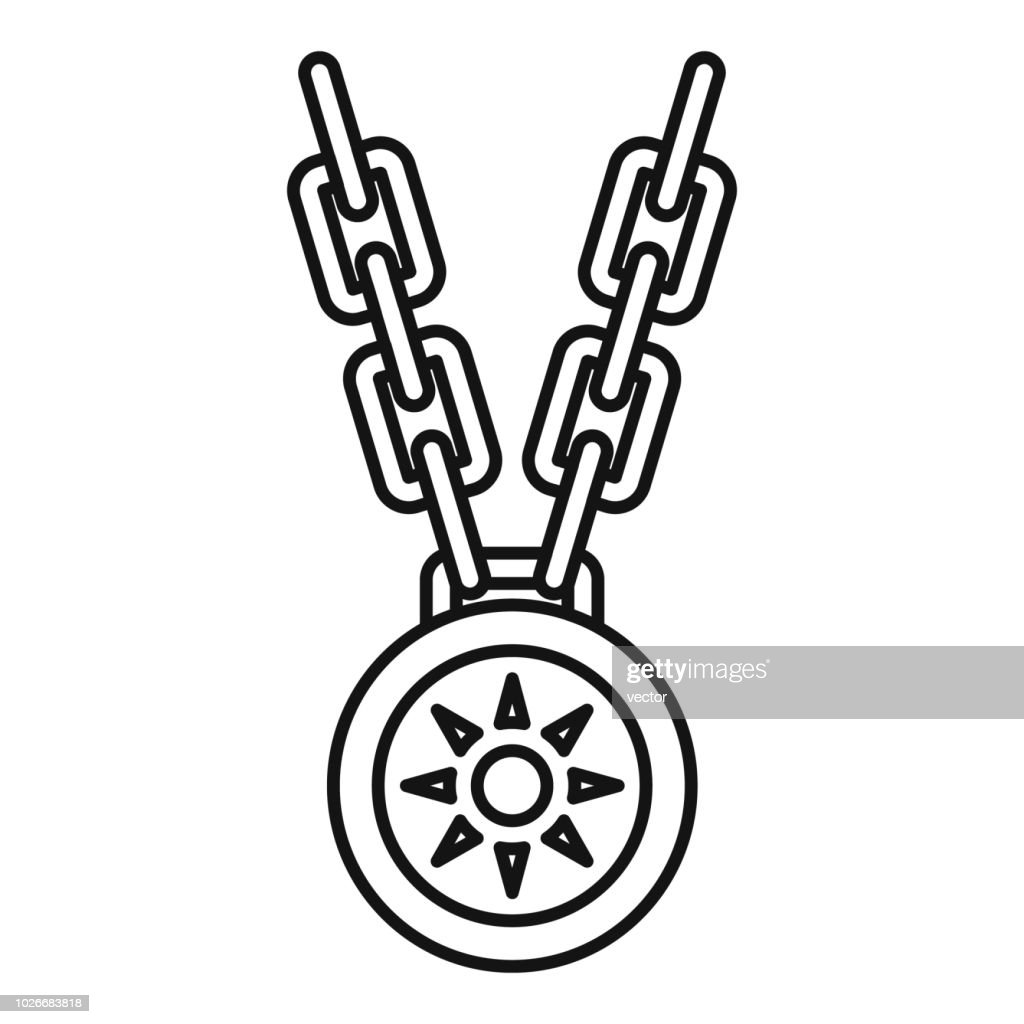 Necklace medallion icon, outline style