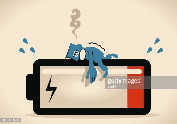 need to charge energy power, businessman lying down on the big battery - tired stock illustrations