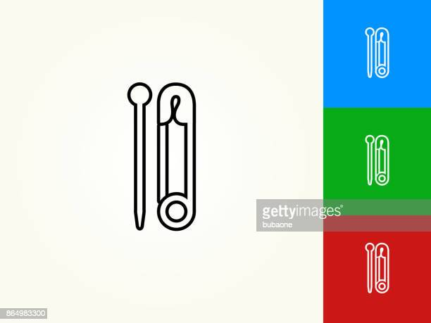 Needle and Safety Pin Black Stroke Linear Icon