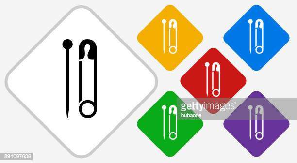 Needle and Safety Pin Color Diamond Vector Icon